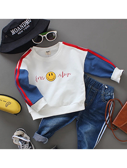 Smiling Face Contrast Color Baby Boy Outfits