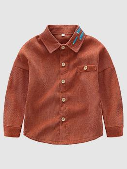Fish Embroidery Turndown Collar Boy Shirts