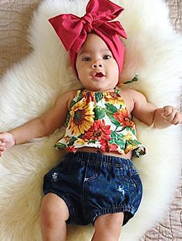 Floral Halter Denim Baby Girl Outfits