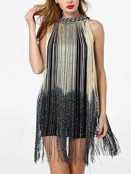 Fashion Gradient Color Fringe Dress