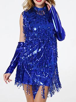 Sexy Latin Tassels Sequin Dress