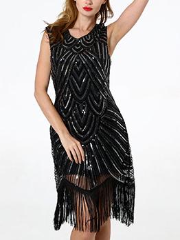 Fashion Sleeveless Sequined Fringe Dress