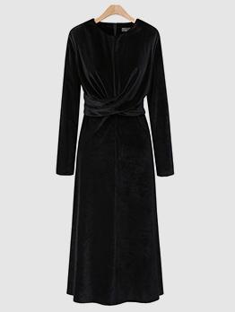 Velvet Crew Neck Black Dress