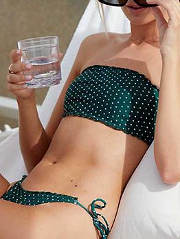 Euro Fashion Polka Dots Strapless Bikini Sets
