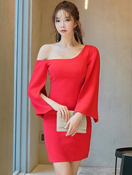 Inclined Shoulder Solid Color Women Dresses
