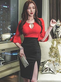 Contrast Color Flare Sleeve Bodycon Dress