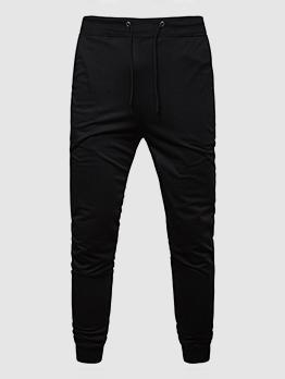 Casual Tie-Wrap Solid Cotton Long Pants