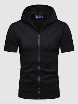 Trendy Zipper Short Sleeve Hoodies For Man