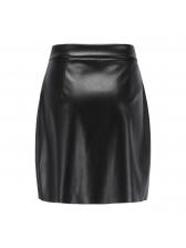 Simple Design Round Buckle Pu Black Skirt