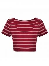 Fashionable Striped Cropped Slim T-Shirt