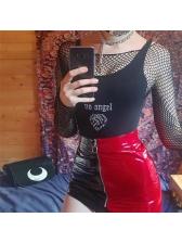 U-Neck Embroidery Slim Black Bodysuits