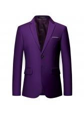 Casual Lapel Collar Solid Blazer For Men