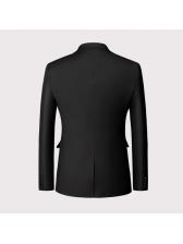 Double Buttons Lapel Collar Solid Mens Blazer
