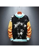 Crew Neck Contrast Color Printed Sweatshirt