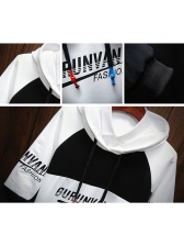 Fashion Contrast Color Letter Pullover Hoodies