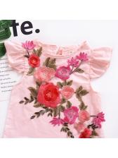 Elegant Crew Neck Stereo Flower Blush Dress