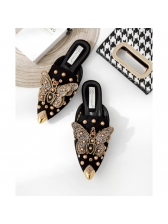 Stylish Rivet Butterfly Pointed Mules Slippers