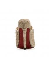Simple Design Beading Suede High Heel Slippers