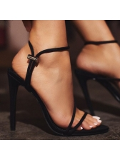 Fashionable Solid Thin Heel Strappy Sandals
