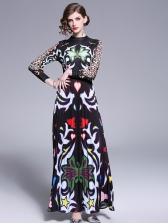 Fashion Pleated Leopard Print Maxi Dress