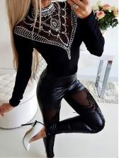 Hot Sale Lace Panel Black Pu Pants
