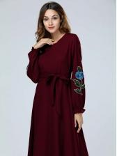 Lantern Sleeve Muslim Embroidery Maxi Dresses