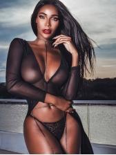 Sexy Deep V Neck Perspective Gauze Long Blouse