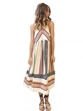 Colorful Print Off Shoulder Sleeveless Dress