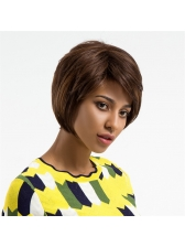 Inclined Bang Short Fluffy Ladies High Quality Human Hair Wig