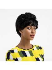 Chic Black Curly Inclined Bang Fluffy Human Hair Wig
