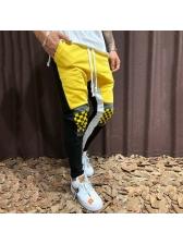 Casual Contrast Color Plaid Drawstring Pants