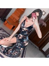 Backless V Neck Irregular Sleeveless Floral Dress