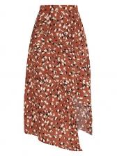 Bohemian Floral Irregular Midi Skirt