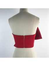 Euro Boat Neck Backless Bow Crop Blouse