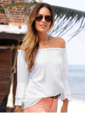 Summer Boat Neck Flare Sleeve Loose Blouse
