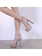 Peep-Toe Suede A-Buckle Belt Platform Sandals