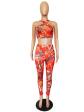 Summer Printed U Neck Crop Tank With Pencil Pants