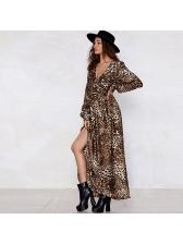 Leopard Print V-Neck Slit Long Maxi Spring Dresses