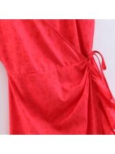 Ruffle V Neck Sleeveless Red Dress