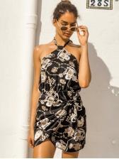 Backless Printing Halter Mini Dress