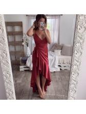 Sexy Ruffle V Neck Asymmetrical Dress