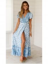 Casual V Neck Print Maxi Dress