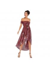 Spring Ruched Printing Irregular Hem Off Shoulder Dress