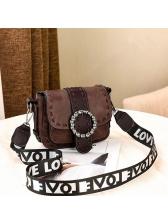 Vintage Style Letter Belt Colorblock Shoulder Bag
