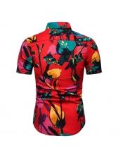 Trendy Lapel Printing Easy Match Summer Shirt