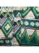 Fashionable Turndown Neck Printing Short Sleeve Shirt