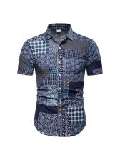 Versatile Printing Stand Collar Shirt For Man