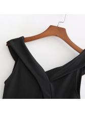 Simple Design Patchwork Off Shoulder Black Bodysuits