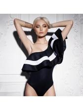 Trendy Contrasting Colors Ruffles One Shoulder Bodysuits
