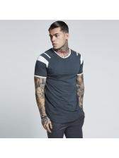 Trendy Round Neck Patchwork Short Sleeve T-shirt